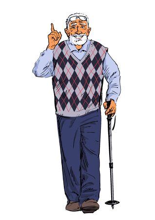 Sketch of an smiling old man walking with a tracking stick. Fitness for elderly people. Active senior is hiking and talking pointing finger up. Hand drawn vector illustration isolated.