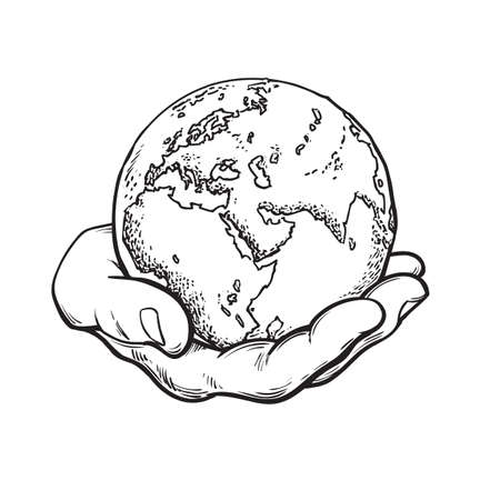 Human hand holding globe. Earth in mans palm. Save planet idea. Travel icon. Power over the world concept