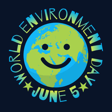 World Environment Day poster. Greeting text written around cartoon smiling globe on black background.
