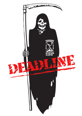 Deadline concept. Death with scythe and hourglass. Text Deadline. Vctor illustration isolated on white background. Illusztráció