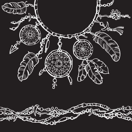 Dream catcher. Boho style decoration design for collar t shirts, shirts, blouses. Seamless border made from beads. Hand drawn vector illustration isolated on black background. Illusztráció