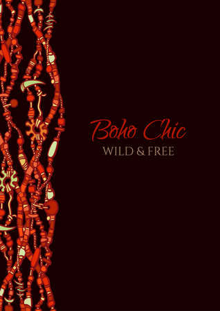 Cover design in boho style. Tribal folk motif in traditional red and black colors. Vertical border made from beads. Jewelry bijouterie elements. Sketch style hand drawn isolated vector illustration,  イラスト・ベクター素材