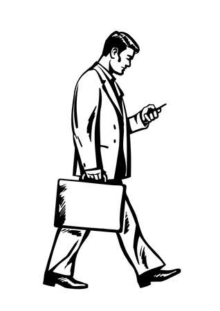 Full length side view of a young businessman walking with a suitcase and looking at smartphone. Business man moving forward and holding a mobile phone. Hand drawn isolated sketch vector illustration.
