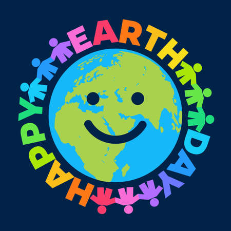 Happy Earth Day poster. Greeting text written around cartoon smiling globe. Happy cute funny Earth emoji. Vector illustration isolated on dark blue night sky background.