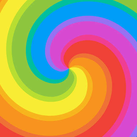 Rainbow swirl background. Colorful bright rays of twisted spiral. Vector illustration. 向量圖像