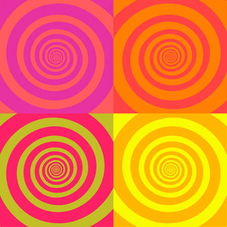 Set of psychedelic spirals in retro comic style. Pattern from colorfull spirals on bright square background. Reklamní fotografie - 151147565