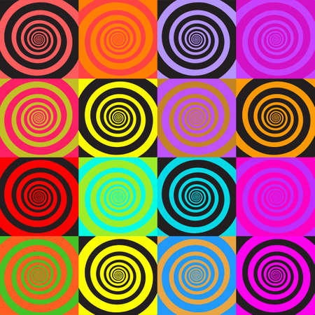 Set of psychedelic spirals in comic style. Seamless pattern from colorfull spirals on bright square background.