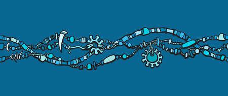 Seamless border made from beads. Boho style decoration Hand drawn line art sketch vector illustration isolated on blue background. Illusztráció