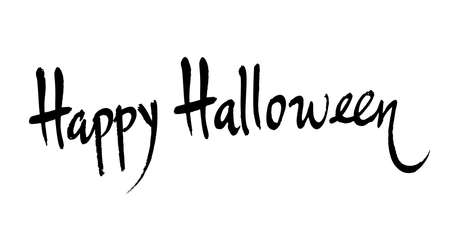 Happy halloween handwritten brush lettering. Vector calligraphy isolated on white background.  イラスト・ベクター素材