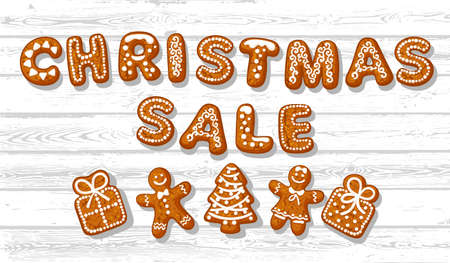 Christmas sale poster. Text made of gingerbreade cookies and cute traditional holiday biscuits on white old wooden background. Cartoon hand drawn vector illustration.
