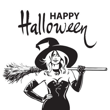 Beautiful sexy witch holding broomstick. Happy Halloween witches, funny Halloween phrase. Hand drawn brush lettering, Sketch style design for holiday greeting card, flyer, poster, invitation, banner.