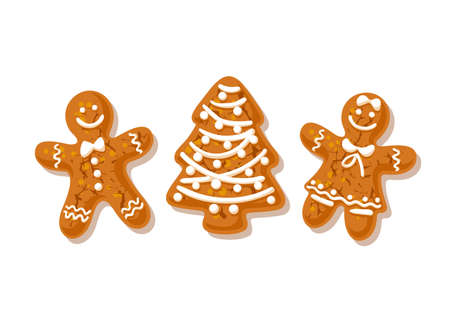 Gingerbreade man, woman and Christmas tree. Traditional homemade sugar coated cookies isolated on white background. Vector illustration.