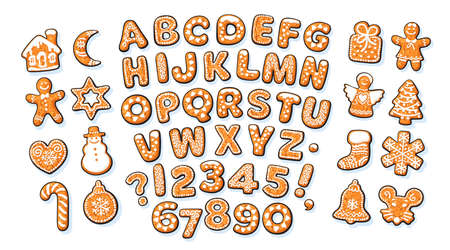 Christmas and New Year gingerbread alphabet and cute traditional holiday cookies. Sugar coated letters and numbers. Cartoon hand drawn vector illustration isolated on white backgroun. Illusztráció