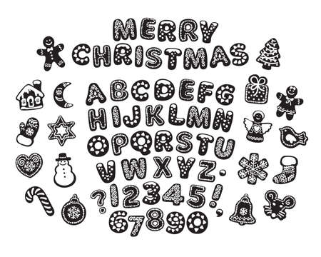 Black and white gingerbread alphabet, letters, numbers and cute traditional holiday cookies. Merry Christmas text made of biscuits. Cartoon hand drawn vector illustration isolated on white background. Illustration