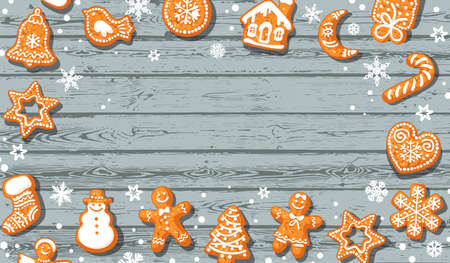 Christmas background. Cute gingerbread cookies on old blue wooden table with copy space. Vector illustration