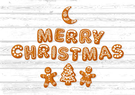 Merry Christmas greeting card. Text made of gingerbreade cookies and cute traditional holiday biscuits on white old wooden background. Cartoon hand drawn vector illustration.