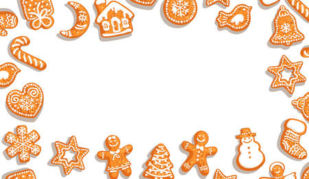 Christmas background. Cute gingerbread cookies on white background with copy space. Vector illustration. Illustration