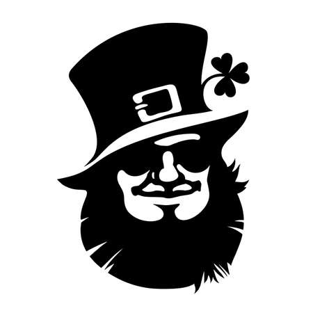 Leprechaun smiling face icon with hat, sunglasses and clover.Saint Patricks Day  . Hand drawn black vector illustration isolated on white background. Illusztráció