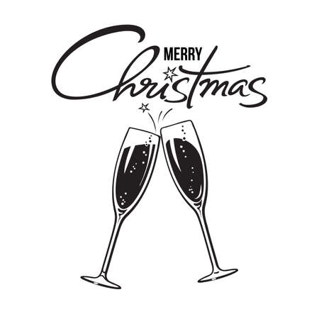 Two sparkling glasses of champagne or wine and Merry Christmas handwritten text. Holiday cheers icon. Retro style vector illustration isolated on white background. Illusztráció