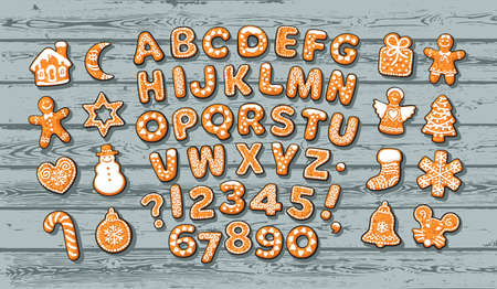 Christmas gingerbread alphabet and cute traditional holiday cookies on old blue wooden table. Sugar coated letters and numbers. Cartoon hand drawn vector illustration isolated on wood background.