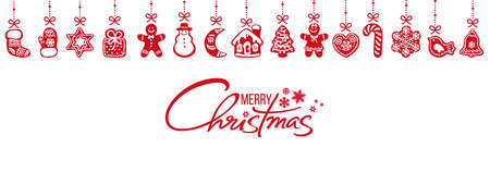 Gingerbread cookies hanging on red ribbons and Merry Christmas handwritten text. Vector illustration isolated on white background. Illusztráció