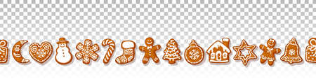 Christmas gingerbread cookies seamless border isolated on transparante background. Traditional homemade sugar coated cookies. Cartoon hand drawn vector illustration