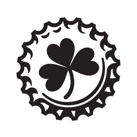 St Patricks Day symbol shamrock clover leaf on beer bottle cap. Vector illustration isolated on white background.