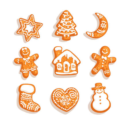 Set of Christmas and New Year gingerbread cookies. Traditional homemade sugar coated cookies. Cartoon hand drawn vector illustration isolated on white background. Illusztráció