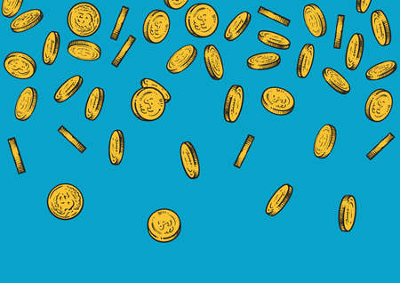 Seamless background with falling gold coins. Sketch of golden money flowing top down, big pile of cash, treasure concept.Hand drawn vector illustration isolated on blue background.