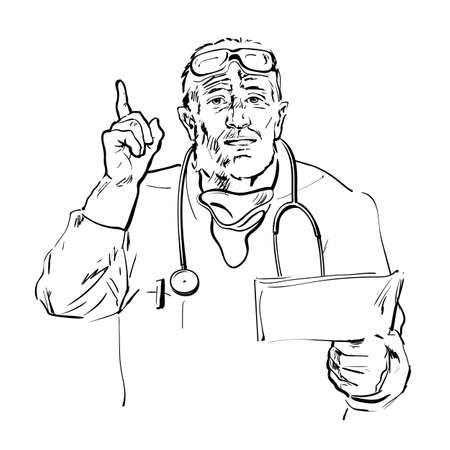 Sketch of senior doctor holding papers, talking and pointing finger up. Medic recommended. Hand drawn vector illustration isolated on white background.
