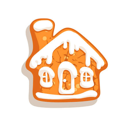 Christmas gingerbread house. Traditional homemade sugar coated cookie isolated on white background. Vector illustration.