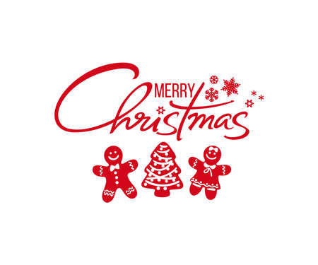 Merry Christmas handwritten text. Red silhouette of Christmas gingerbread cookies man, woman and Christmas tree. Vector illustration isolated on white background