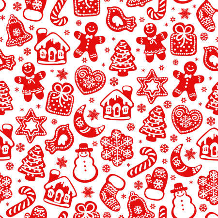 Christmas and New Year seamless pattern. Red silhouette of traditional Christmas gingerbread cookies and snowflakes isolated on white background. Vector illustration. Illusztráció