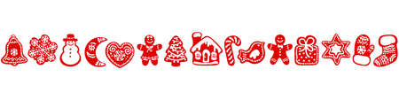 Red silhouette of Christmas gingerbread cookies. Seamless border. Vector illustration.