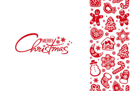 Merry Christmas greeting card Handwritten text and vertical seamless border composed of red gingerbread cookies