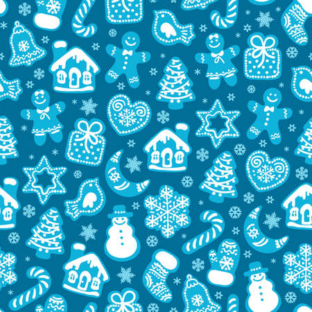 Christmas and New Year seamless pattern of traditional gingerbread cookies and snowflakes on dark blue background
