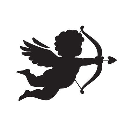 Black silhouette of Cupid aiming a bow and arrow. Valentines Day love symbol. Vector illustration isolated