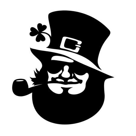 Leprechaun face icon with hat, sunglasses, pipe, and clover Saint Patricks Day logo Hand drawn black vector illustration