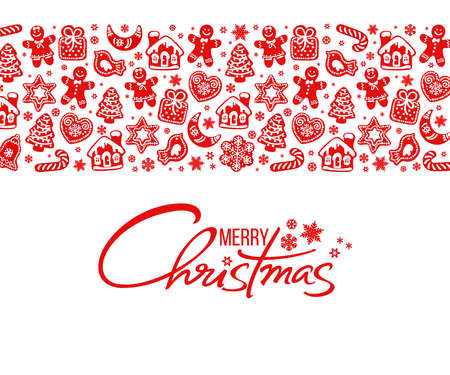 Merry Christmas greeting card. Handwritten text and horizontal border composed of Gingerbread cookies and snowflakes