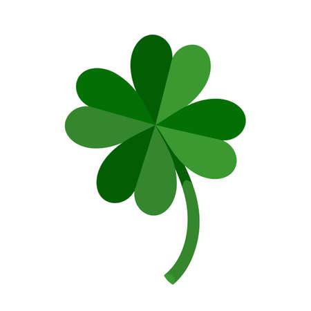 Lucky Green Four Leaf Clover for St. Patricks Day. Vector illustration isolated on white background Illusztráció