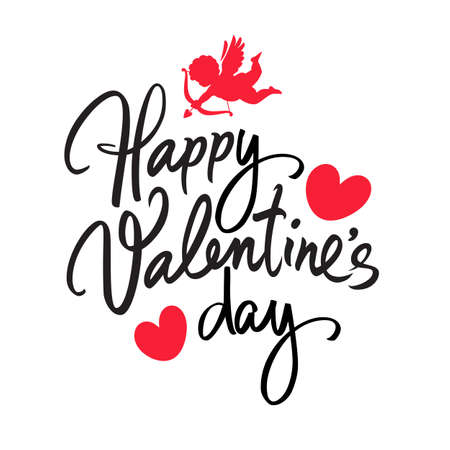 Happy Valentines Day handwritten lettering. Black calligraphic text with two red hearts and Cupid aiming a bow
