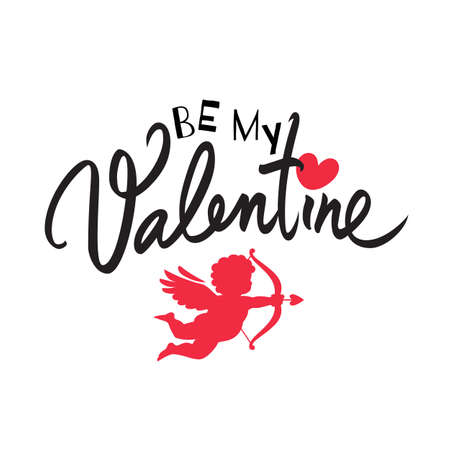 Be my Valentine text with red heart and Cupid aiming a bow and arrow. Valentines Day handwritten holidays typography Illusztráció