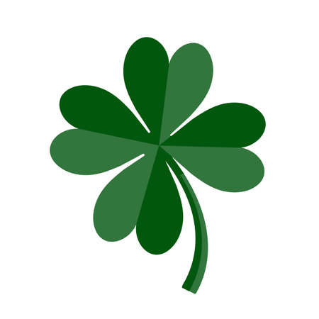 Lucky Green Four Leaf Clover for St. Patricks Day. Vector illustration isolated on white background  イラスト・ベクター素材
