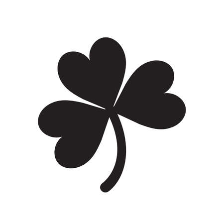 Lucky shamrock three leaf clover silhouette for St. Patricks Day. Vector illustration isolated on white background