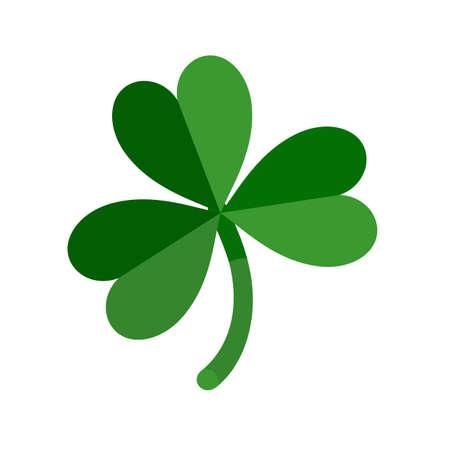 Lucky green shamrock three leaf clover for St. Patricks Day. Vector illustration isolated on white background Illusztráció