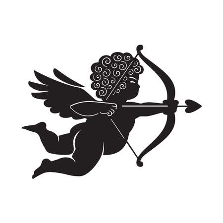Black silhouette of Cupid aiming a bow and arrow. Valentines Day love symbol.Vector illustration isolated