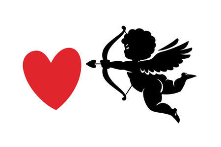 Black silhouette of funny cute Cupid aiming a bow and arrow at red heart. Valentines Day love symbol Illusztráció