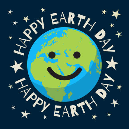 Happy Earth Day poster in retro style. Greeting text written around smiling cartoon globe. Cute funny Earth emoji.