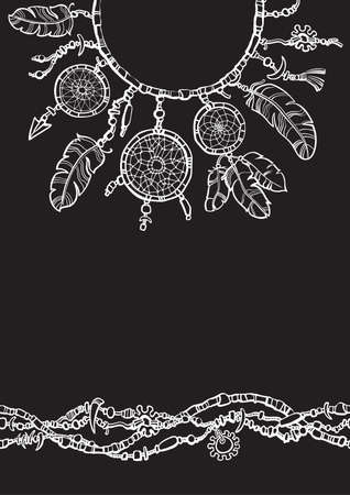 Dream catcher. Boho style design for collar t shirt. Seamless border made from beads.  イラスト・ベクター素材