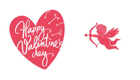 Happy Valentines Day greeting card with white handwritten text on red heart background and silhouette of Cupid